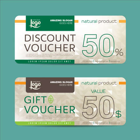 discount poster: Gift voucher template with colorful pattern,Vector illustration