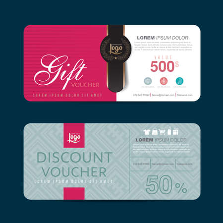 gift tag: Gift voucher template with colorful pattern,Vector illustration