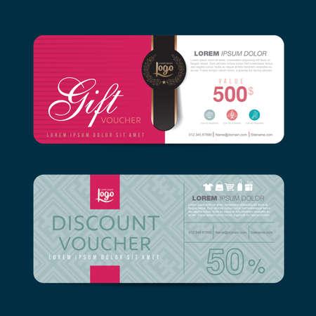 facture restaurant: Mod�le de bon de cadeau avec un motif color�, vecteur, Illustration