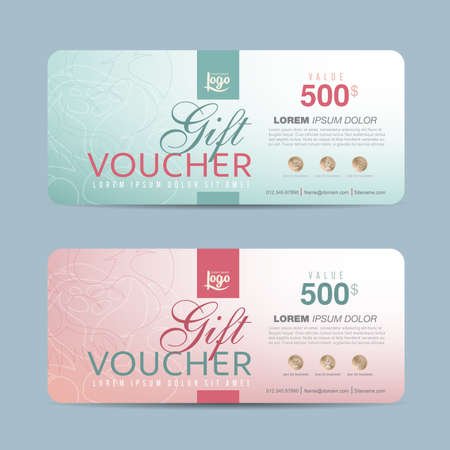 coupons: Gift voucher template with colorful pattern,Vector illustration