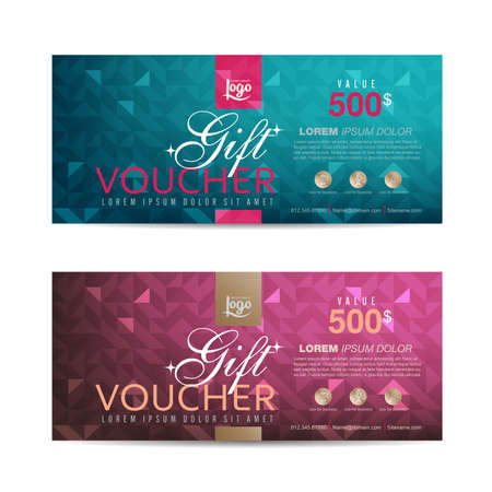 scroll background: Gift voucher template with colorful pattern,Vector illustration