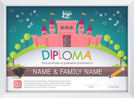 kinder: Diploma niños de certificados, guardería plantilla de diseño castillo diseño de fondo del vector del marco. concepto de educación preescolar estilo de arte plana