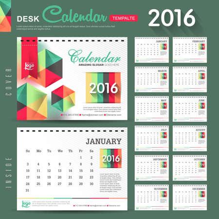 calendario diciembre: Calendario de escritorio 2016 del vector plantilla de dise�o con el modelo abstracto. Conjunto de 12 Meses. ilustraci�n vectorial
