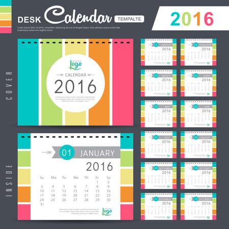 calendario octubre: Calendario de escritorio 2016 del vector plantilla de diseño con el modelo abstracto. Conjunto de 12 Meses. ilustración vectorial
