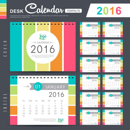day planner: Desk Calendar 2016 Vector Design Template with abstract pattern. Set of 12 Months. vector illustration Illustration
