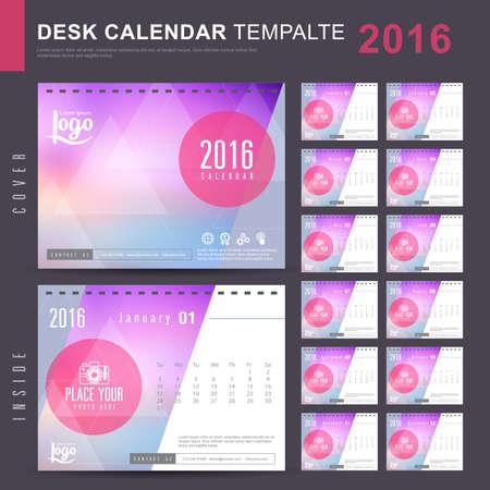calendar: Biuro Kalendarz 2.016 Szablon Vector z abstrakcyjny wzór. Zestaw 12 miesięcy. ilustracji wektorowych