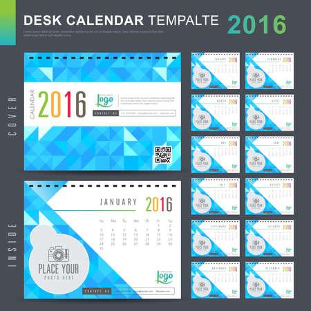 calendrier: Calendrier de bureau 2,016 Vector Design Modèle avec motif abstrait. Ensemble de 12 mois. illustration vectorielle