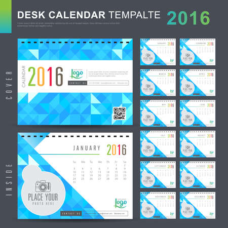template: Desk Calendar 2016 Vector Design Template with abstract pattern. Set of 12 Months. vector illustration Illustration
