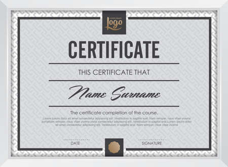 a certificate: certificate template with clean and modern pattern,Vector illustration