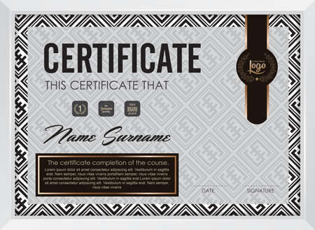 frame vector: certificate template with clean and modern pattern,Vector illustration