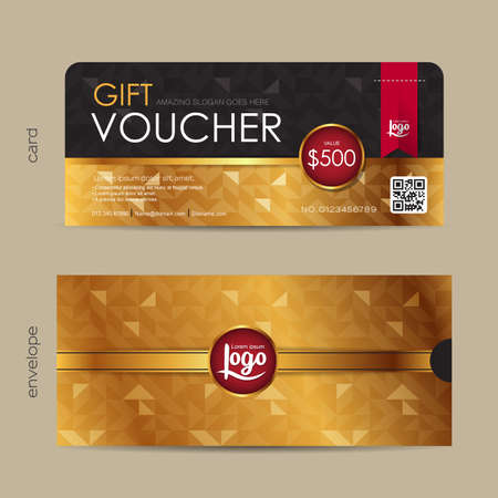 retro design: Gift voucher template with premium pattern