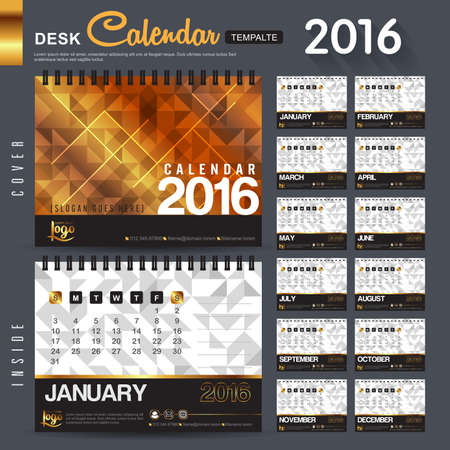 Desk Calendar 2016 Vector Design Template with abstract pattern. Set of 12 Months. vector illustration Illustration