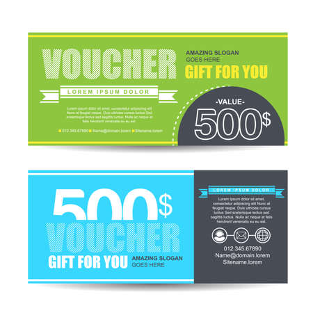 facture restaurant: Gift voucher template with colorful pattern,Vector illustration