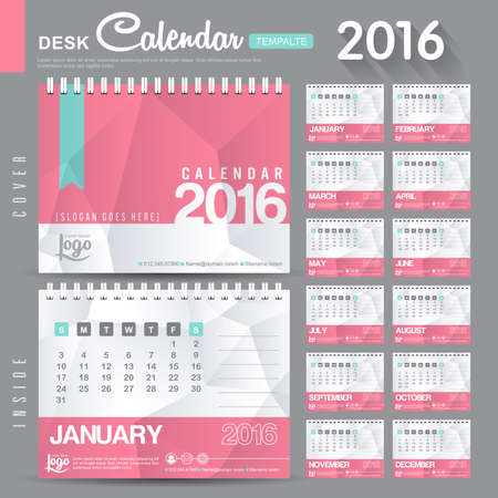calend�rio: Desk Calendar 2016 Vector Design Template with abstract pattern. Set of 12 Months. vector illustration Ilustra��o