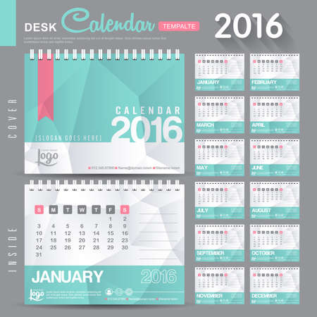 Desk Calendar 2016 Vector Design Template with abstract pattern. Set of 12 Months. vector illustration Çizim