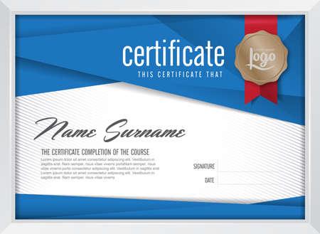diploma: plantilla de certificado con el patr�n limpio y moderno, ilustraci�n vectorial