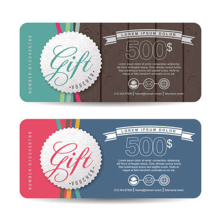 gift card: Gift voucher template with colorful pattern,Vector illustration