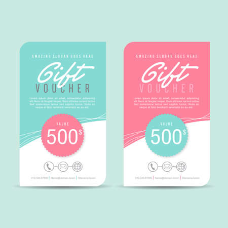 Gift voucher template with colorful pattern,Vector illustration Stok Fotoğraf - 46179356