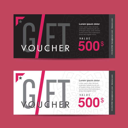 restaurant bill: Gift voucher template with colorful pattern,Vector illustration