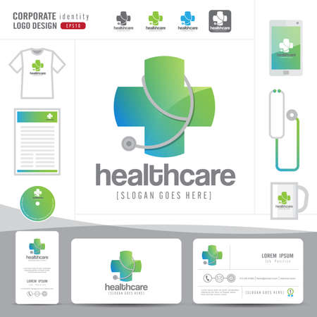 logo design medische gezondheidszorg of ziekenhuis en adreskaartjemalplaatje met schone en moderne platte patroon, corporate identity, vector illustrator Stock Illustratie