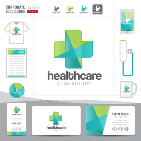 pharmacy symbol: logo design medical healthcare or hospital and business card template with clean and modern flat pattern,Corporate identity,vector illustrator