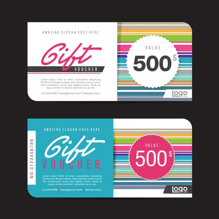 vouchers: Gift voucher template with colorful pattern,Vector illustration