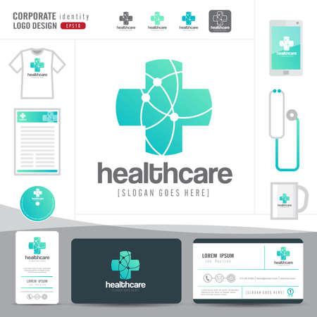 logo medicina: diseño del logotipo de la salud médica o el hospital y la tarjeta de visita plantilla con patrón plano limpio y moderno, identidad corporativa, vector ilustrador Vectores