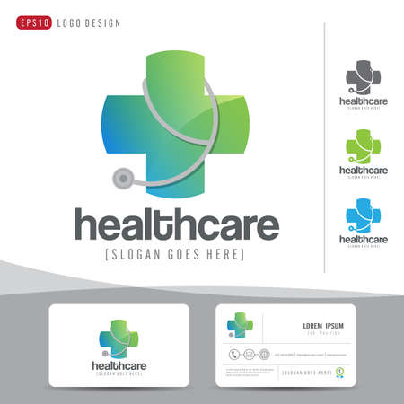 doctor care: logo design medical healthcare or hospital and business card template with clean and modern flat pattern,Corporate identity,vector illustrator