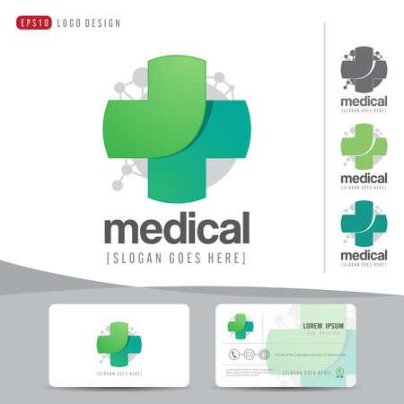 ロゴ デザイン医療ヘルスケアか病院と名刺テンプレート クリーンでモダンなフラット パターン、コーポレート ・ アイデンティティ、ベクトル イ