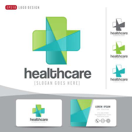medical logo: logo design medical healthcare or hospital and business card template clean and modern pattern,vector illustrator