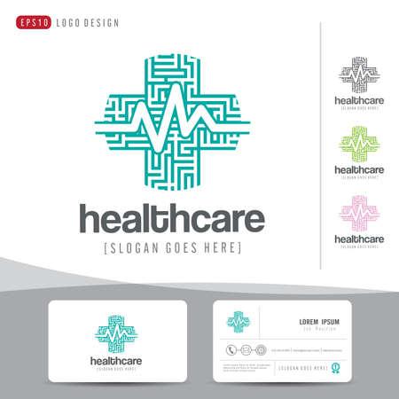 Diseño del logotipo de la salud médica o el hospital y la tarjeta de visita limpia y modelo moderno, vector ilustrador Foto de archivo - 46179399