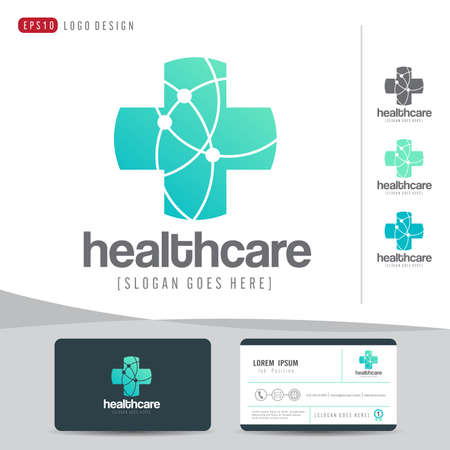 medical emergency service: logo design medical healthcare or hospital and business card template clean and modern pattern,vector illustrator
