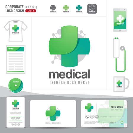 farmacia: diseño del logotipo de la salud médica o el hospital y la tarjeta de visita limpia y modelo moderno, vector ilustrador