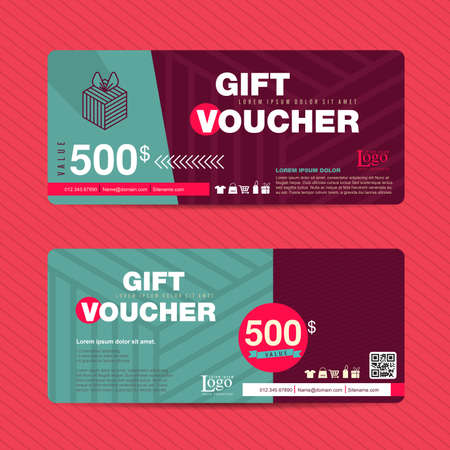 voucher: Gift voucher template with colorful pattern,Vector illustration