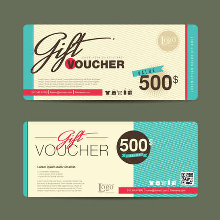 gifts: Gift voucher template with colorful pattern,Vector illustration