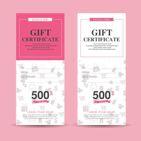lazo regalo: Plantilla de vales de regalo con el patrón de colores, ilustración vectorial