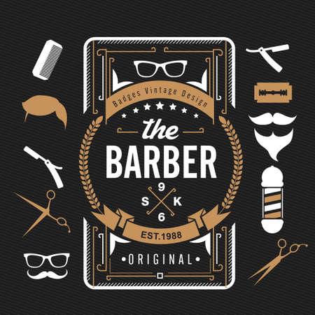 barbero: Elementos de diseño de peluquería de caballeros, Juego de Barber Vintage tienda de logotipo, etiquetas, insignias y elementos de diseño, vector