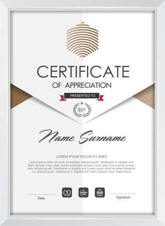 reconocimientos: plantilla de certificado con el patrón limpio y moderno, ilustración vectorial