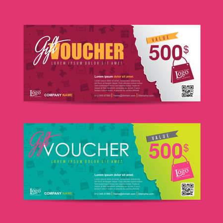 coupon template: Gift voucher template with colorful pattern,Vector illustration