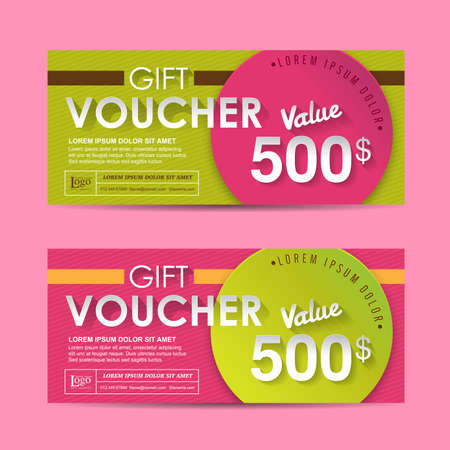 discount coupon: Gift voucher template with colorful pattern,Vector illustration