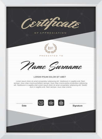 diploma: certificate template with clean and modern pattern,Vector illustration