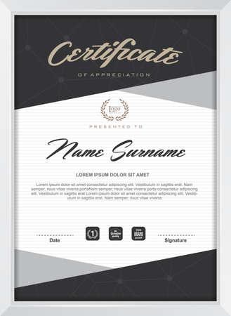 certificate: plantilla de certificado con el patrón limpio y moderno, ilustración vectorial