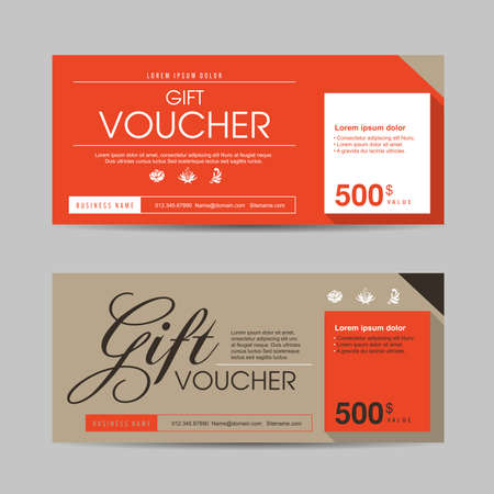 template: Gift voucher template with colorful pattern,Vector illustration
