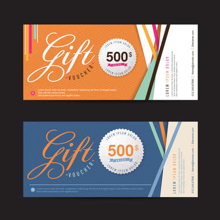 blank template: Gift voucher template with colorful pattern,Vector illustration