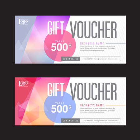 layouts: Gift voucher template with colorful pattern,Vector illustration