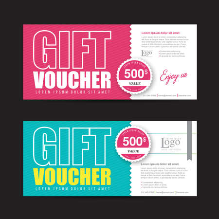 tickets: Gift voucher template with colorful pattern,Vector illustration