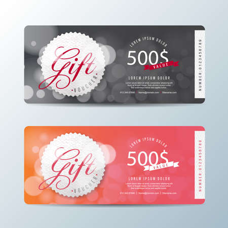 discount banner: Gift voucher template with colorful pattern,Vector illustration