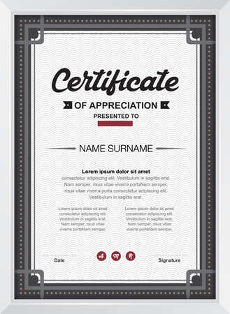 award certificate: certificate template with clean and modern pattern,Vector illustration