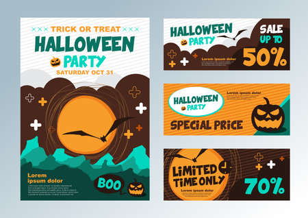 set of Halloween banners poster card.Vector illustration. Sale Discount