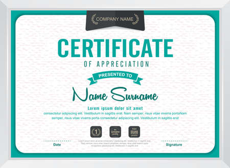 template: certificate template with clean and modern pattern,Vector illustration